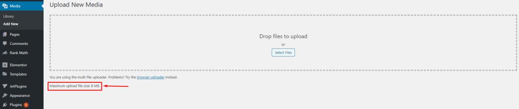 max upload file size wordpress